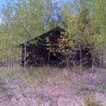 old cabin on walking path